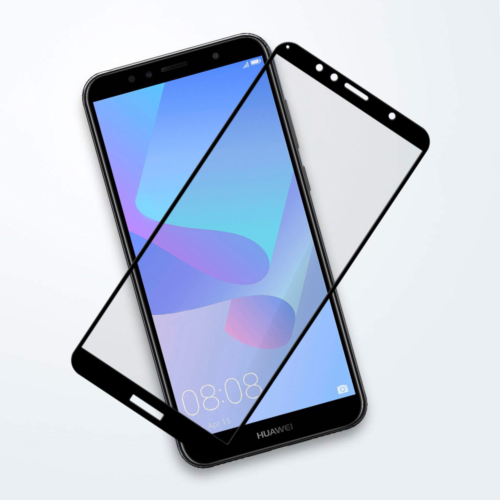 Full Tempered Glass Screen Protector - Huawei Y6 (2018) - Black
